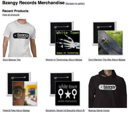 Bzangy Records / White Town UK Merchandise
